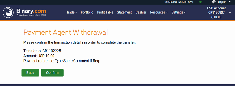 Confirm Withdraw Page - Local Agent - Binary.Com Withdraw In Pakistan