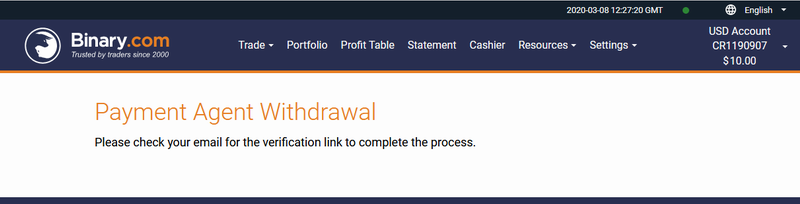 Confirmation Email - Local Agent - Binary.Com Withdraw In Pakistan