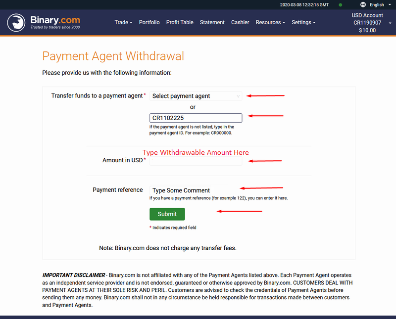 Full Withdraw Page - Local Agent - Binary.Com Withdraw In Pakistan