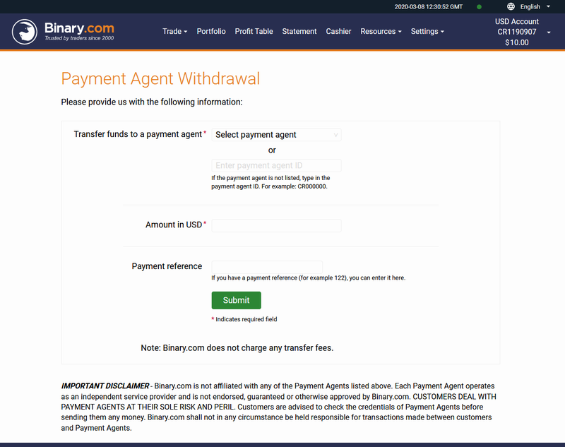Withdraw Page - Local Agent - Binary.Com Withdraw In Pakistan